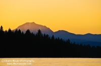 DT-CA-2155 Sunset on Mount Lassen, with Lake Almanor in the foreground, Chester, California.